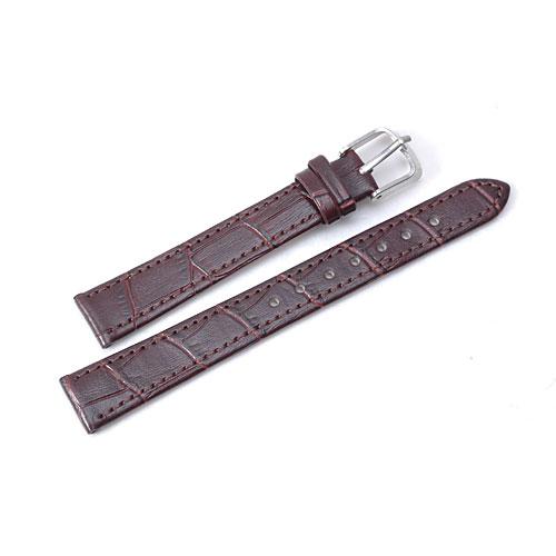 Klockarmband, brunrött, 14mm, Croc Grain, konstläder (Klockarmband) från klockor4you.se