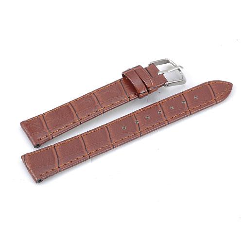Klockarmband, brunt, 18 mm, Croc Grain, konstläder (Klockarmband) från klockor4you.se