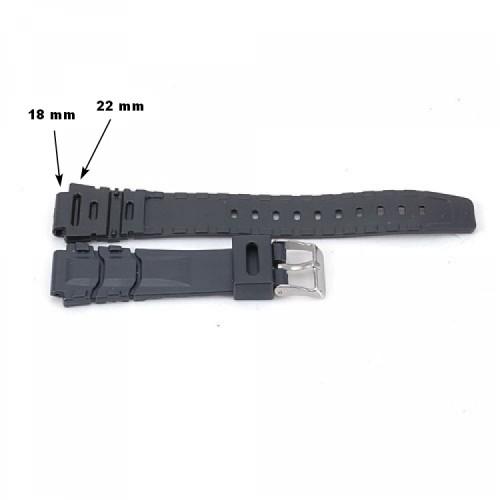 Klockarmband, gummi/silikon, svart, 18 - 22 mm, se bilder (Klockarmband) från klockor4you.se
