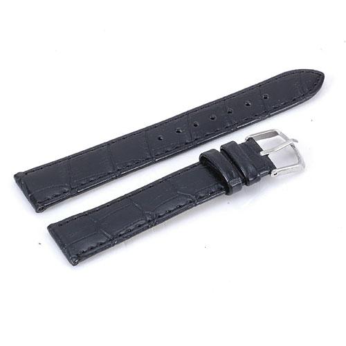 Klockarmband, svart, 18 mm, Croc Grain, konstläder, nytt (Klockarmband) från klockor4you.se