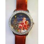 Klocka med julmotiv, rött armband med mönster