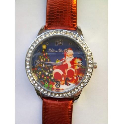 Klocka med julmotiv, rött armband med mönster (Julmotiv) från klockor4you.se