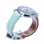 Annorlunda klocka, virvel motiv, ljusgrönt läderarmband (Barn - ungdomar) från klockor4you.se