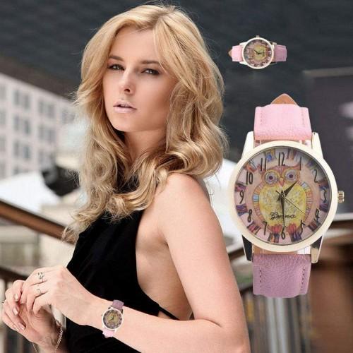 Klocka med uggla, rosa läderarmband, Geneva (Djurmotiv) från klockor4you.se