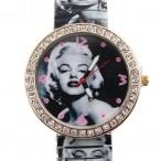 Marilyn Monroe klocka, elastiskt armband, passar nästan alla