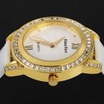 Alias Kim armbandsur med kristaller, vitt läderarmband (Alias Kim) från klockor4you.se