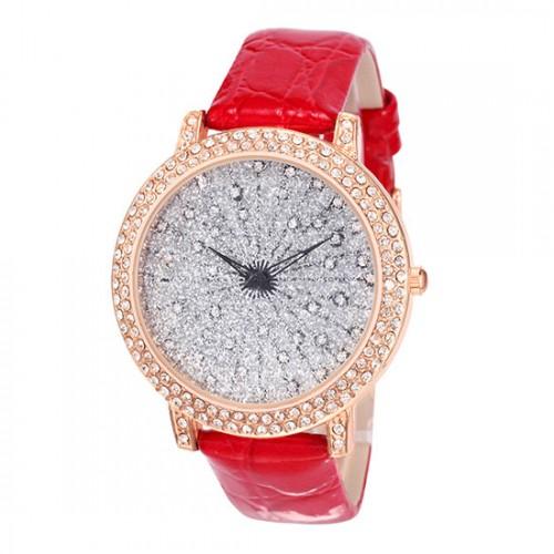 Alias Kim Bling Crystal Glitter klocka, rött läderarmband (Alias Kim) från klockor4you.se