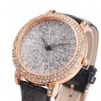 Alias Kim Bling Crystal Glitter klocka, svart läderarmband (Alias Kim) från klockor4you.se