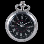 AK Homme fickur, silverfärgad boett, svart urtavla, romerska siffror, nytt