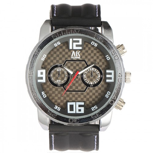 AK Homme, japanskt quartz urverk, svart armband av gummi (AK herrklockor) från klockor4you.se