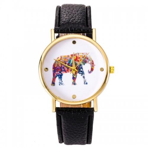 Färgglad elefant klocka, vit urtavla, guldfärgade visare (Djurmotiv) från klockor4you.se