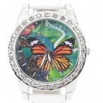 Klocka med fjäril butterfly, kristaller, vit armband