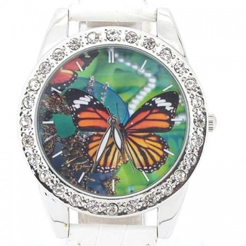 Klocka med fjäril butterfly, kristaller, vit armband (Djurmotiv) från klockor4you.se