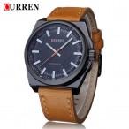 CURREN armbandsur, svart urtavla, läderarmband, nytt