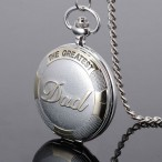 """""""The Greatest Dad"""" fickur, silver- och guldfärgat, quartz, romerska siffror, nytt (Fickur retro stil, batteridrivna) från klockor4you.se"""