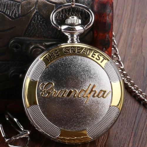 """""""The Greatest Grandpa"""" fickur, silver- och guldfärgat, quartz, romerska siffror, nytt (Fickur retro stil, batteridrivna) från klockor4you.se"""