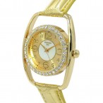 Christian Joy guldfärgad klocka med kristaller, modell 2, se bilder