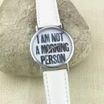 """""""I AM NOT A MORNING PERSON"""" klocka, vit läderarmband (Barn - ungdomar) från klockor4you.se"""