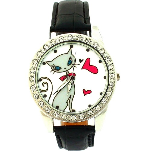 Klocka med kärleksfull katt, kristaller, svart armband (Djurmotiv) från klockor4you.se