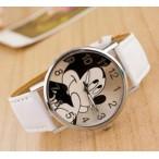 Mickey Mouse klocka med vitt läderarmband (Djurmotiv) från klockor4you.se