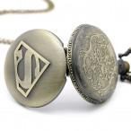 Superman, bronsfärgat S, fickur, halsbandsklocka