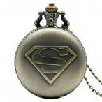 Superman, bronsfärgat S, fickur, halsbandsklocka (Barn - ungdomar) från klockor4you.se