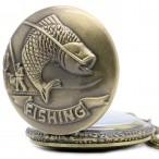 Fishing fickur, halsbandsklocka, bronsfärg, vit urtavla