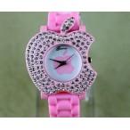 Apple logo formad klocka, kristaller, silikon armband