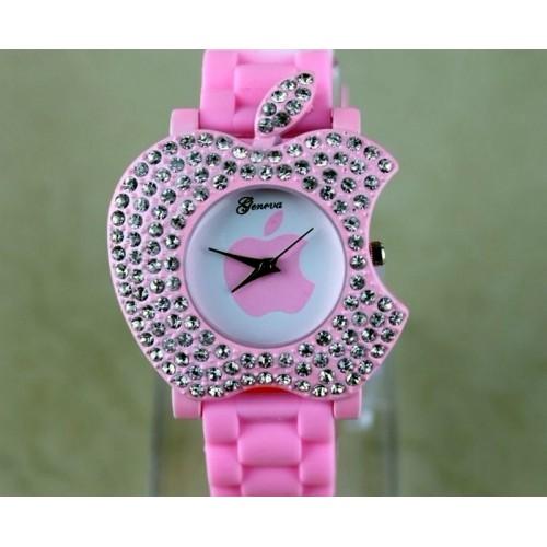 Apple logo formad klocka, kristaller, silikon armband (Geneva) från klockor4you.se
