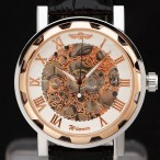 Winner klocka, mekaniskt urverk, skelettur, romerska siffror, Rose Gold (Herrklockor) från klockor4you.se