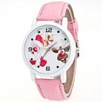 Klocka med jultomten och Rudolf, vit boett, rosa armband