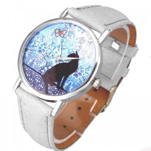 Katt med fjäril, klocka med vitt läderarmband (Djurmotiv) från klockor4you.se