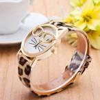 Katt med guldfärgade glasögon, leopardmönstrat armband, japanskt urverk (Djurmotiv) från klockor4you.se