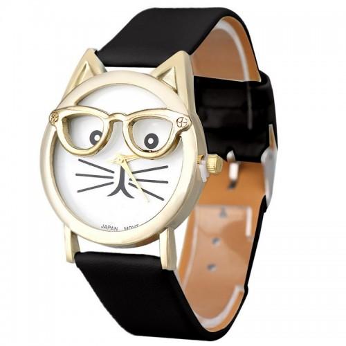 Katt med guldfärgade glasögon, svart armband, japanskt urverk (Djurmotiv) från klockor4you.se