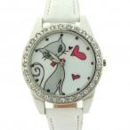 Klocka med kärleksfull katt, kristaller, vitt armband