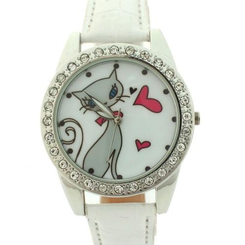 Klocka med kärleksfull katt, kristaller, vitt armband (Djurmotiv) från klockor4you.se