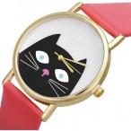 Klocka med katt, modell 1, guldfärgade visare, se bilder