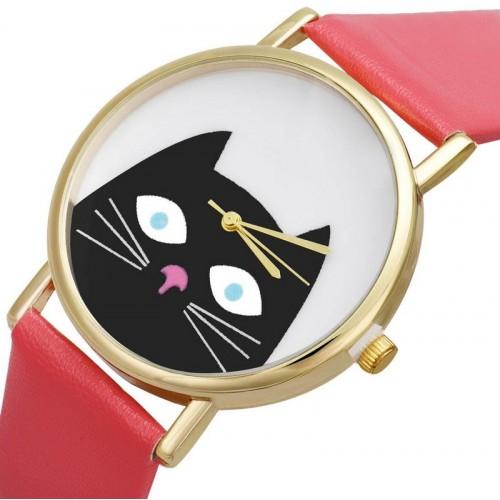 Klocka med katt, modell 1, guldfärgade visare, se bilder (Djurmotiv) från klockor4you.se