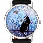 Klocka med katt, modell 2, silverfärgade visare, se bilder