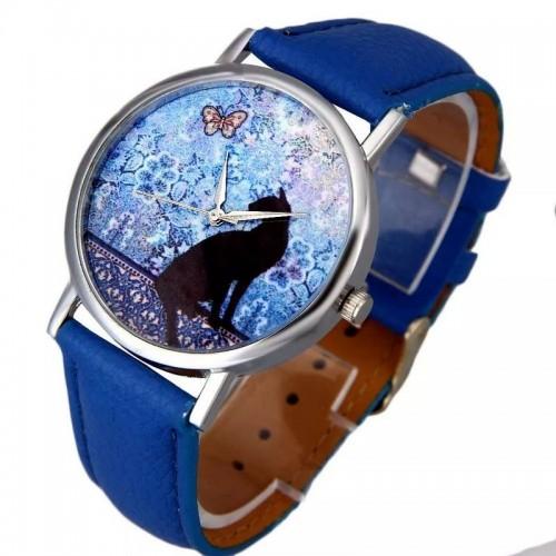 Klocka med katt, modell 3, silverfärgade visare, se bilder (Djurmotiv) från klockor4you.se