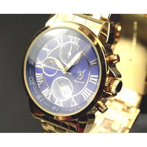 Boreas day-date, dag-natt visare, metallisk blå urtavla, stålband (Herrklockor) från klockor4you.se