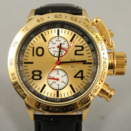 Königswerk, Day-Date, Metallic Gold urtavla, svart läderarmband (Herrklockor) från klockor4you.se