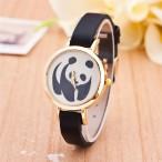 Panda klocka, svart läderarmband, vit urtavla, boett 30 mm (Djurmotiv) från klockor4you.se