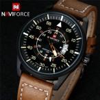 Naviforce klocka med läderarmband, datum, quartz