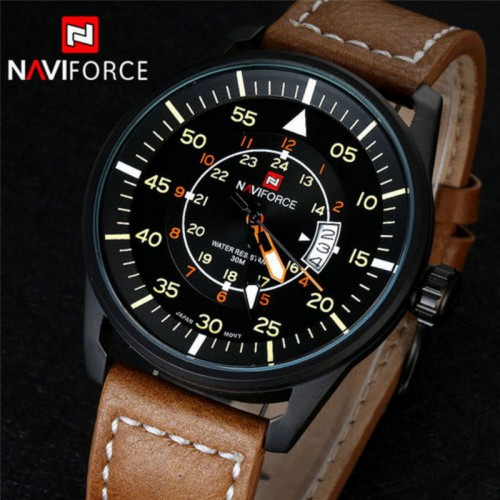 Naviforce klocka med läderarmband, datum, quartz (Barn - ungdomar) från klockor4you.se