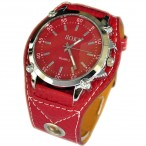 SOKI stor klocka, quartz, röd urtavla, rött armband