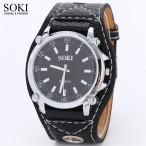 SOKI stor klocka, Quartz, svart urtavla och armband
