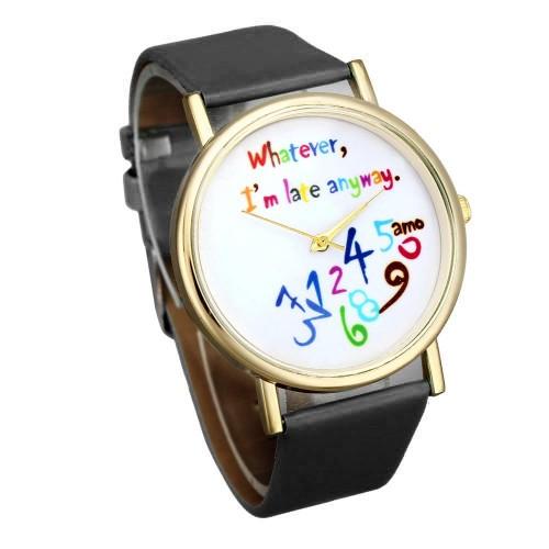 """Whatever, I m late anyway"", vit urtavla, modell 1, colors (Barn - ungdomar) från klockor4you.se"