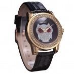 Alias Kim klocka Bling Bling kristaller, med uggla, svart urtavla och armband (Djurmotiv) från klockor4you.se