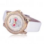 Alias Kim klocka Bling Bling kristaller, med uggla, vit urtavla, vitt armband (Djurmotiv) från klockor4you.se